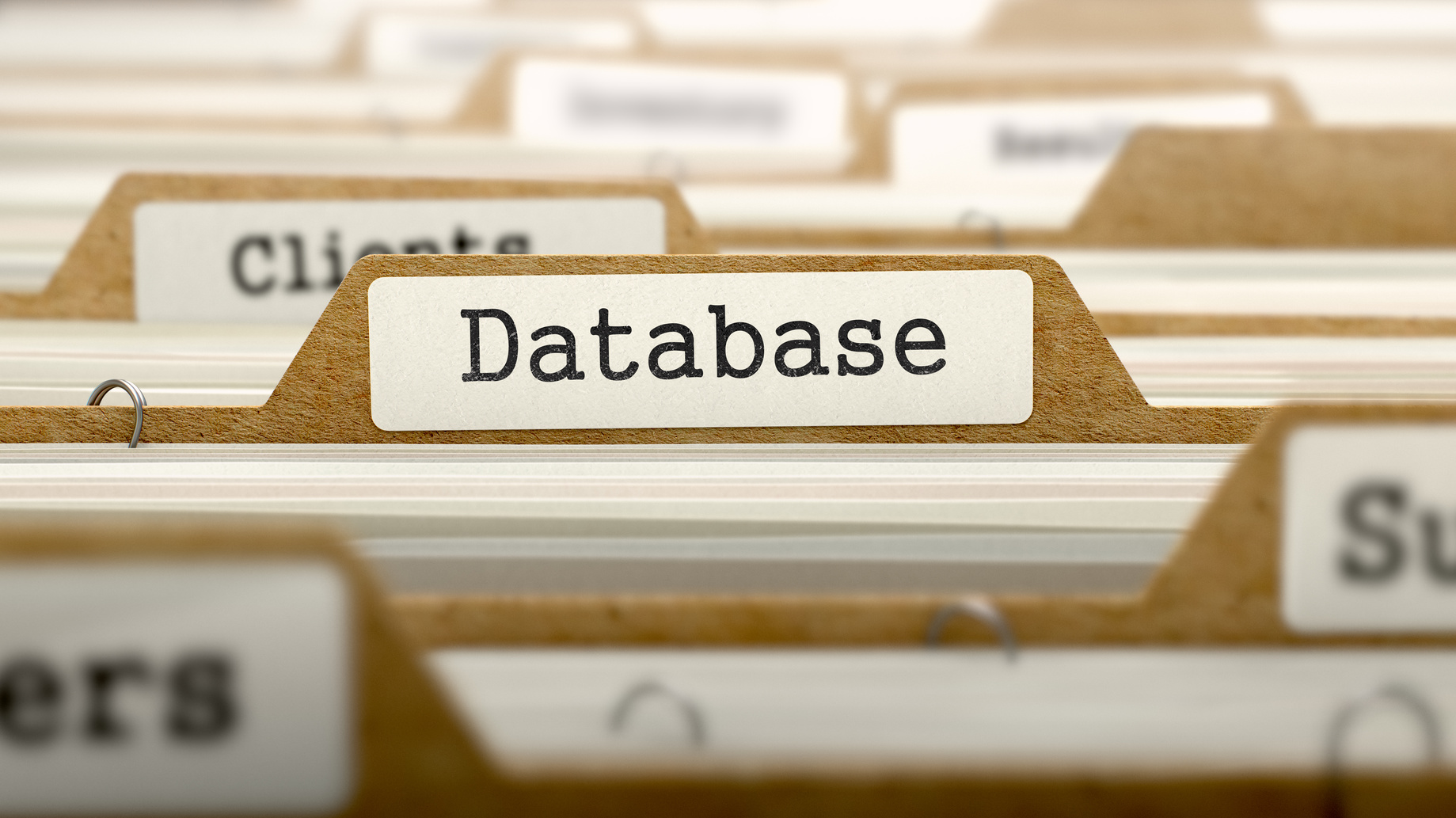 Database Concept. Word on Folder Register of Card Index. Selective Focus.